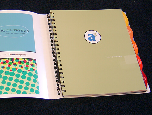 Wire-O bound book with special die cut index tabs